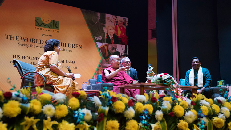 His Holiness the Dalai Lama speaking on Universal Responsibility and Compassion at the NCUI Auditorium in New Delhi, India on November 19, 2017. Photo by Tenzin Choejor