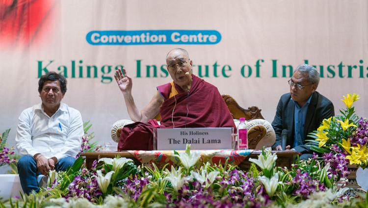 His Holiness the Dalai Lama speaking at KIIT University in Bhubaneswar, Odisha, India on November 21, 2017. Photo by Tenzin Choejor