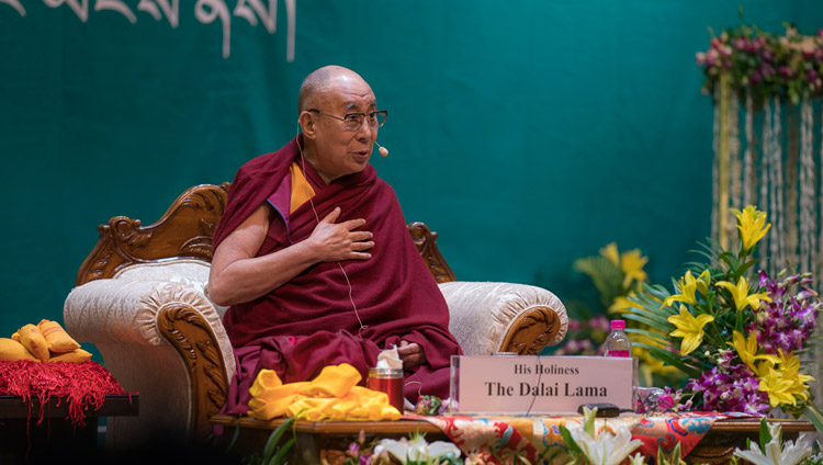 His Holiness the Dalai Lama speaking to 1600 Tibetans from the Phuntsokling Settlement in Chandragiri assembled KIIT auditorium in Bhubaneswar, Odisha, India on November 21, 2017. Photo by Tenzin Choejor