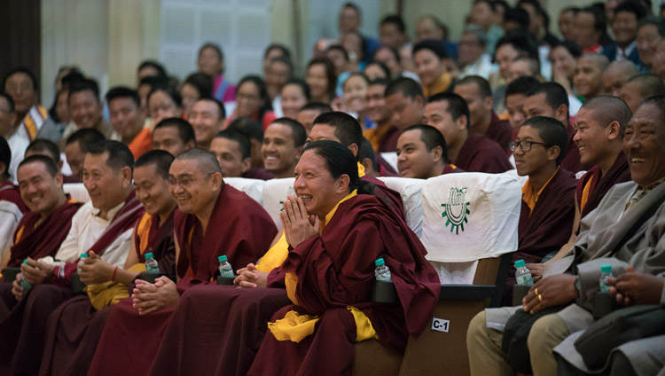 Members of the Tibetan community from Phuntsokling Settlement in Chandragiri listening to His Holiness the Dalai Lama during their meeting at KIIT auditorium in Bhubaneswar, Odisha, India on November 21, 2017. Photo by Tenzin Choejor