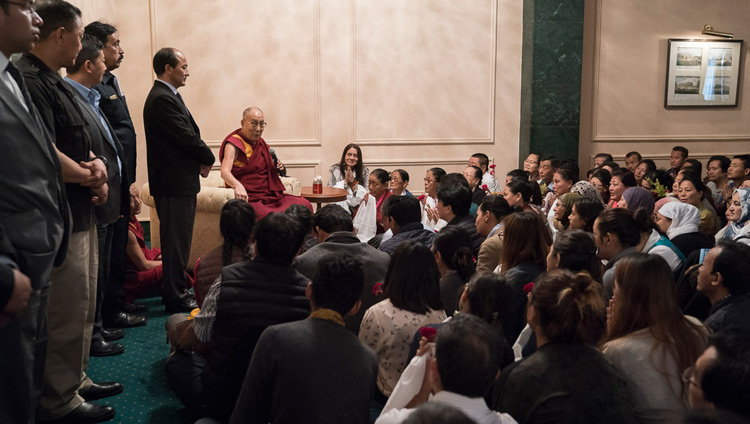 His Holiness the Dalai Lama addressing members of the Tibetan community in Kolkata, India on November 23, 2017. Photo by Tenzin Choejor