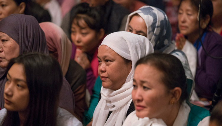Members of the Tibetan community listening to His Holiness the Dalai Lama speaking during their meeting in Kolkata, India on November 23, 2017. Photo by Tenzin Choejor