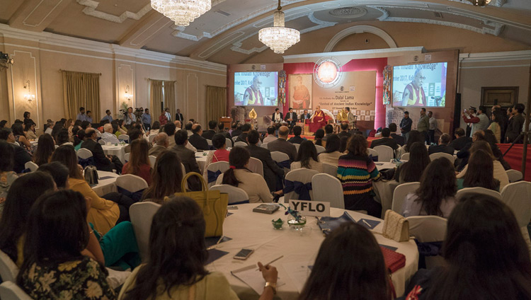 His Holiness the Dalai Lama speaking to over 250 members and guests of the Indian Chamber of Commerce in Kolkata, India on November 23, 2017. Photo by Tenzin Choejor
