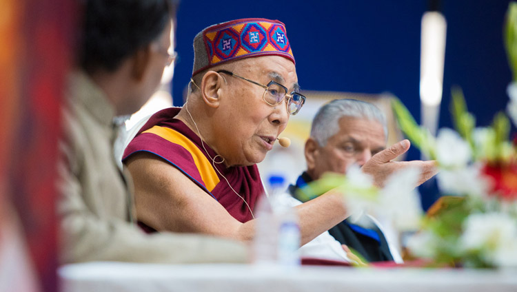 His Holiness the Dalai Lama speaking at the Convention for Global Peace at the Government College in Dharamsala, HP, India on December 2, 2017. Photo by Lobsang Tsering