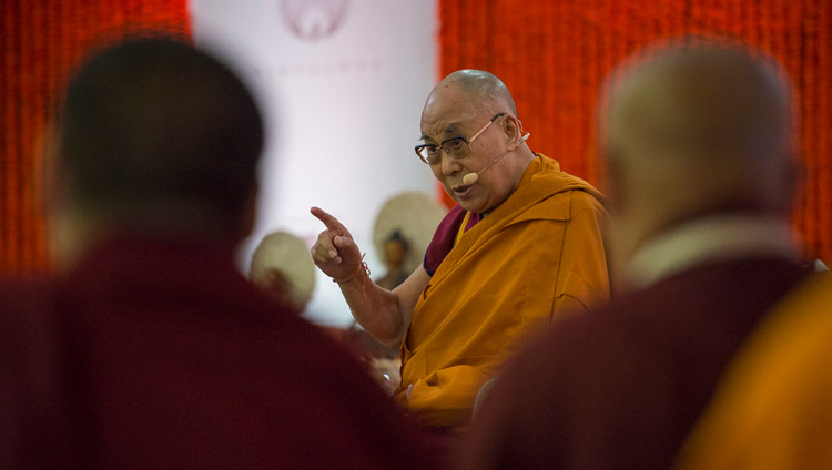 His Holiness the Dalai Lama speaking at the Somaiya Campus Auditorium in Mumbai, India on December 8, 2017. Photo by Lobsang Tsering