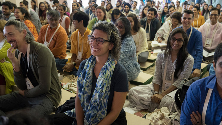 Members of the audience listening to His Holiness the Dalai Lama speaking at the Somaiya Campus Auditorium in Mumbai, India on December 8, 2017. Photo by Lobsang Tsering