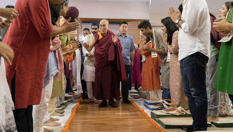 His Holiness the Dalai Lama arriving at Somaiya Vidyavihar Campus Auditorium at the start of the second day of his teachings in Mumbai, India on December 9, 2017. Photo by Lobsang Tsering