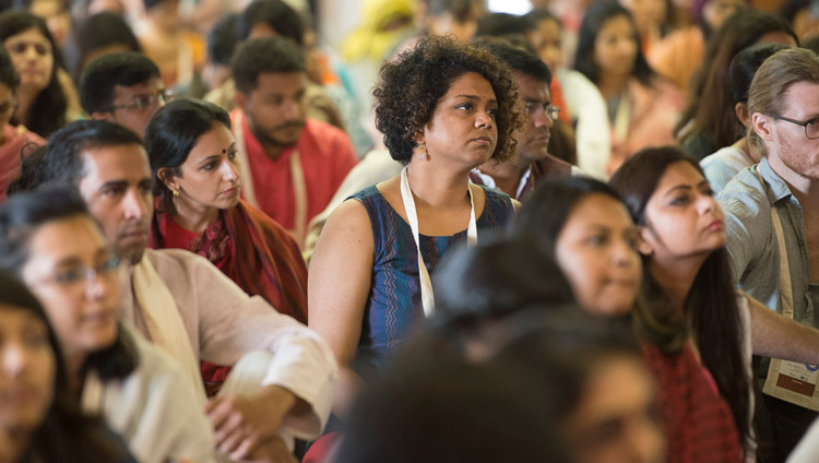 Members of the audience listening to His Holiness the Dalai Lama on the second day of his teachings at Somaiya Vidyavihar Campus Auditorium in Mumbai, India on December 9, 2017. Photo by Lobsang Tsering