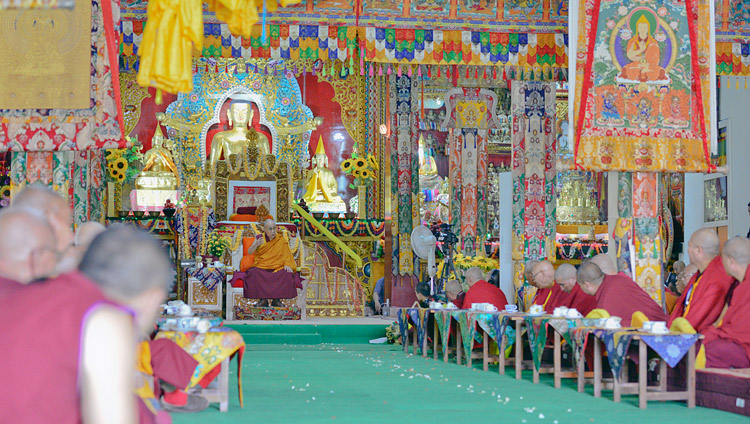 His Holiness the Dalai Lama speaking during the welcome ceremony at Drepung Lachi Monastery in Mundgod, Karnataka, India on December 11, 2017. Photo by Lobsang Tsering