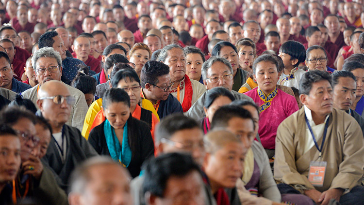 Members of the crowd of over 8,500 listening to His Holiness the Dalai Lama at the Drepung Loseling debate ground in Mundgod, Karnataka, India on December 12, 2017. Photo by Lobsang Tsering