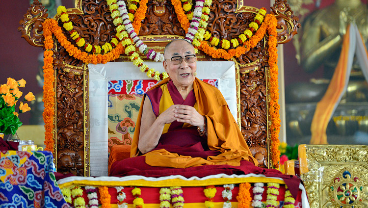 His Holiness the Dalai Lama speaking at the Drepung Loseling debate ground in Mundgod, Karnataka, India on December 12, 2017. Photo by Lobsang Tsering