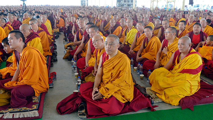 Some of the over 5,000 monks and nuns attending His Holiness the Dalai Lama's talk at the Drepung Loseling debate ground in Mundgod, Karnataka, India on December 12, 2017. Photo by Lobsang Tsering