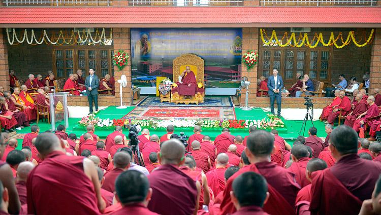 His Holiness the Dalai Lama speaking at the inauguration of the  Meditation & Science Center at Drepung Loseling Monastery, Mundgod, Karnataka, India on December 14, 2017. Photo by Lobsang Tsering