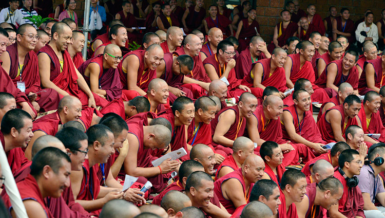 Some of the more than 400 monks listening to His Holiness the Dalai Lama at the inauguration of the  Meditation & Science Center at Drepung Loseling Monastery, Mundgod, Karnataka, India on December 14, 2017. Photo by Lobsang Tsering