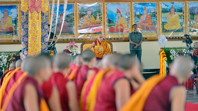 His Holiness the Dalai Lama speaking at the inauguration of the new debate yard at Jangchub Choeling Nunnery in Mundgod, Karnataka, India on December 15, 2017. Photo by Lobsang Tsering
