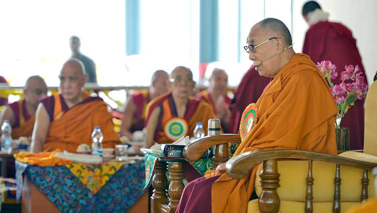 His Holiness the Dalai Lama speaking at the inauguration of the new debate ground at Jangchub Choeling Nunnery in Mundgod, Karnataka, India on December 15, 2017. Photo by Lobsang Tsering