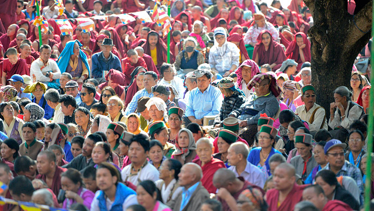 Some of the more than 8,000 Tibetans and people from the Himalayan region attending His Holiness the Dalai Lama's teaching at Ganden Lachi Monastery in Mundgod, Karnataka, India on December 17, 2017. Photo by Lobsang Tsering