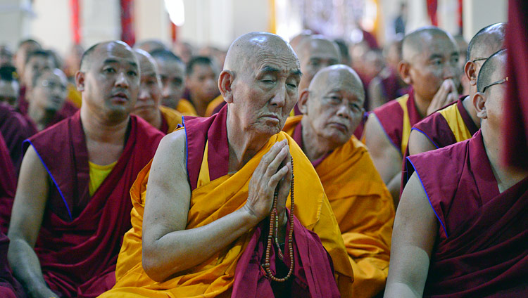 Monks in the audience listening to His Holiness the Dalai Lama during his teaching at Ganden Lachi Monastery in Mundgod, Karnataka, India on December 17, 2017. Photo by Lobsang Tsering
