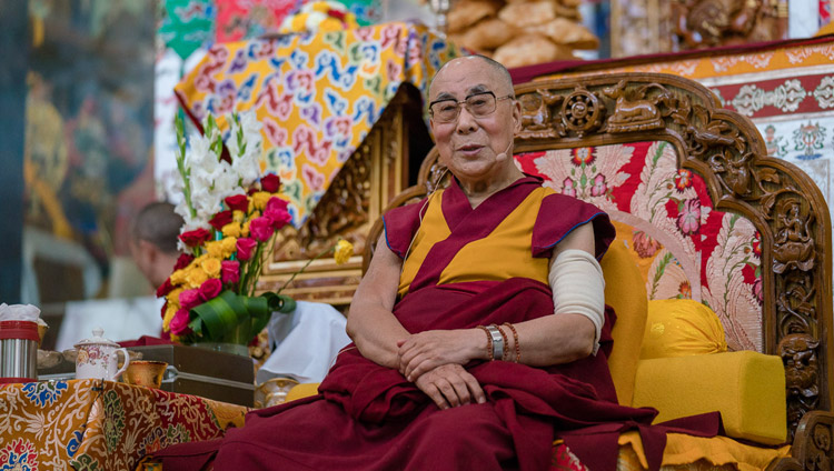 His Holiness the Dalai Lama addressing the gathering during the welcoming ceremony at Sera Lachi Monastery in Bylakuppe, Karnataka, India on December 19, 2017. Photo by Tenzin Choejor