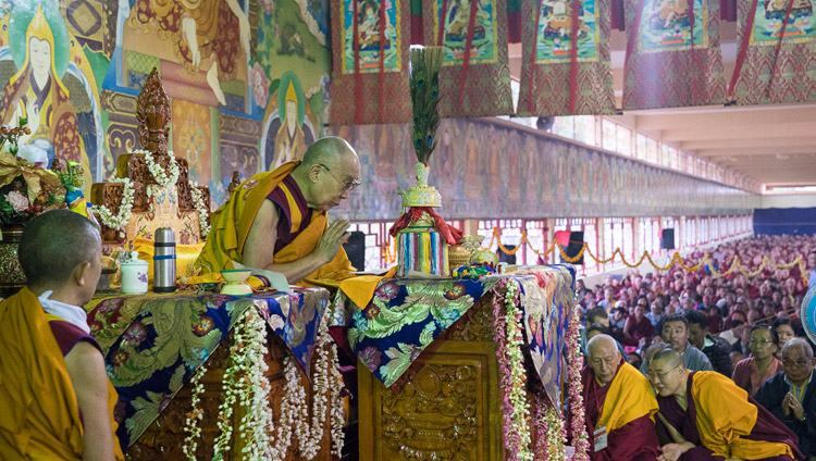 His Holiness the Dalai Lama performing preparatory rituals and procedures for the Hayagriva Empowerment he going to give at Sera Jey Monastery's debate courtyard in Bylakuppe, Karnataka, India on December 20, 2017. Photo by Lobsang Tsering