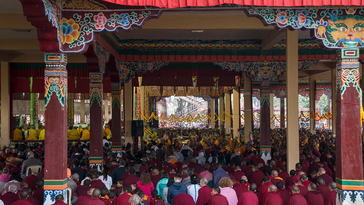 A view of Sera Jey Monastery's debate courtyard during Hayagriva Empowerment given by His Holiness the Dalai lama in Bylakuppe, Karnataka, India on December 20, 2017. Photo by Lobsang Tsering