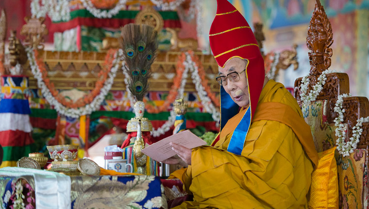 His Holiness the Dalai Lama bestowing the Hayagriva Empowerment at Sera Jey Monastery's debate courtyard in Bylakuppe, Karnataka, India on December 20, 2017. Photo by Lobsang Tsering