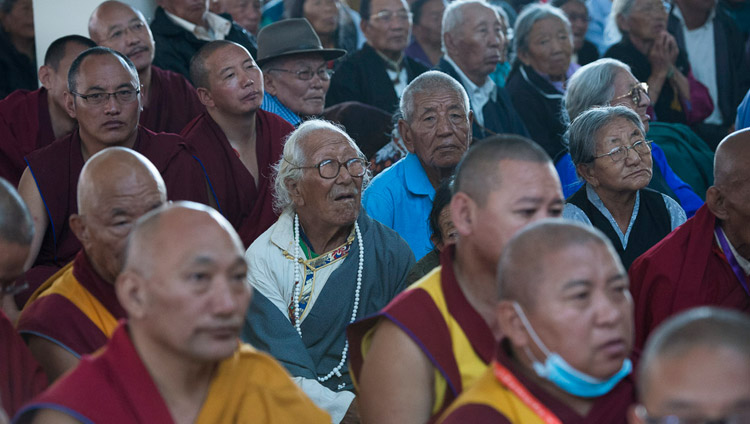 Some of the more than 8000 monks, nuns and members of the Tibetan community attending the inauguration of the new Sera Mey Monastery debate courtyard in Bylakuppe, Karnataka, India on December 21, 2017. Photo by Lobsang Tsering
