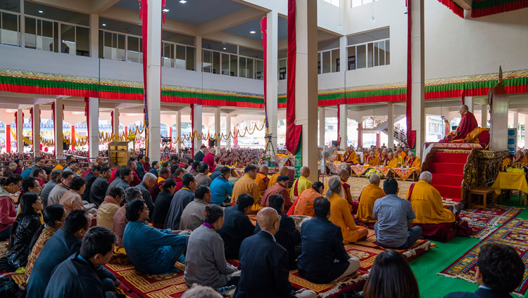 His Holiness the Dalai Lama speaking at the inauguration of the new Sera Mey Monastery debate courtyard in Bylakuppe, Karnataka, India on December 21, 2017. Photo by Lobsang Tsering