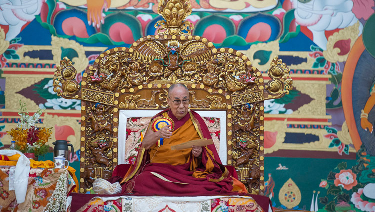"His Holiness the Dalai Lama teaching on ""In Praise of Dependent Origination"" as part of the inauguration ceremony for the new debate courtyard at Sera Mey Monastery in Bylakuppe, Karnataka, India on December 21, 2017. Photo by Lobsang Tsering"