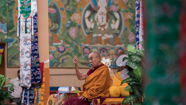 His Holiness the Dalai Lama addressing Tibetan pilgrims recently arrived from Tibet and Tibetan teachers gathered for a workshop on Secular Ethics in the Sera Lachi Assembly Hall in Bylakuppe, Karnataka, India on December 22, 2017. Photo by Tenzin Choejor