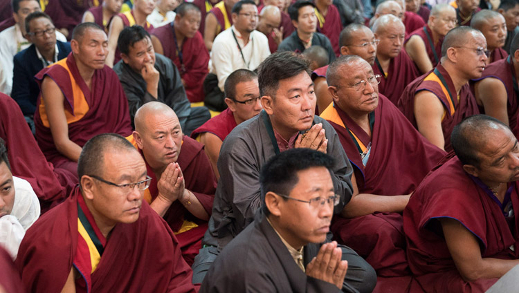 Tibetan teachers gathered for a workshop on Secular Ethics listening to His Holiness the Dalai Lama during their meeting at Sera Lachi Assembly Hall in Bylakuppe, Karnataka, India on December 22, 2017. Photo by Tenzin Choejor