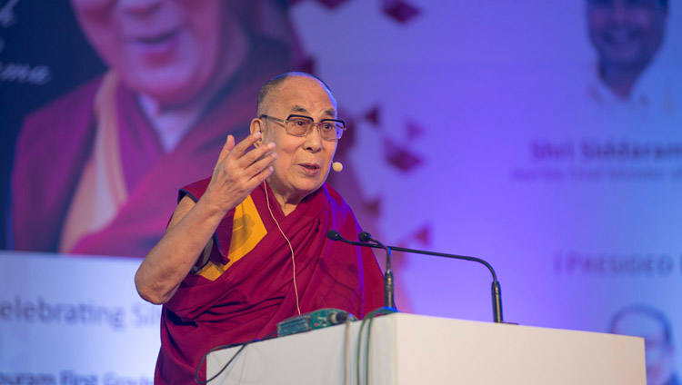 His Holiness the Dalai Lama speaking at Seshadripuram Group of Institutions Silver Jubilee in Bengaluru, Karnataka, India on December 24, 2017. Photo by Lobsang Tsering