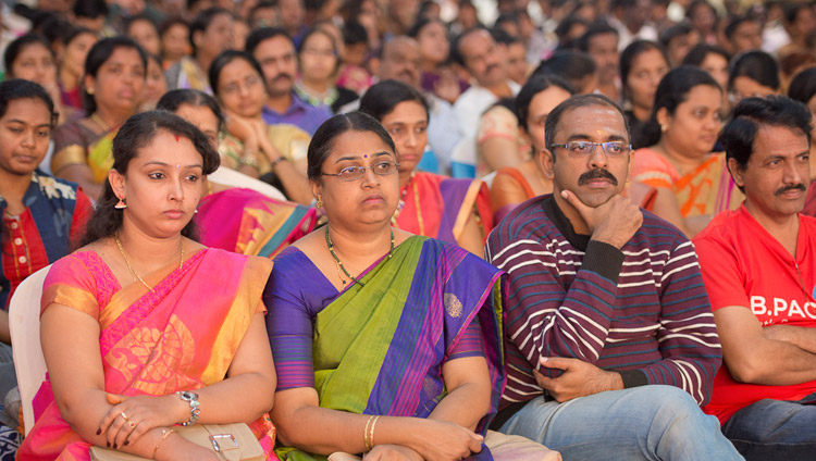 Members of the audience listening to His Holiness the Dalai Lama speaking at Seshadripuram Group of Institutions Silver Jubilee in Bengaluru, Karnataka, India on December 24, 2017. Photo by Lobsang Tsering