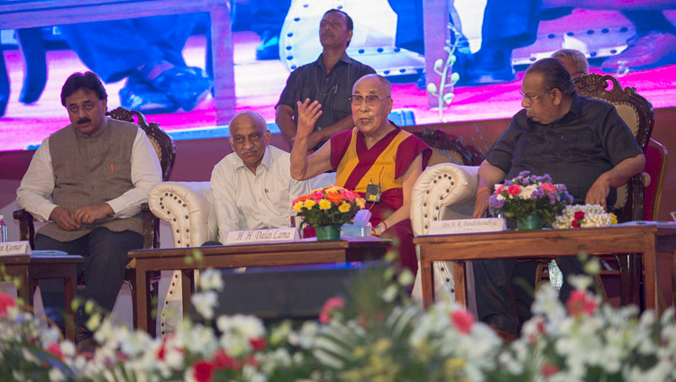 His Holiness the Dalai Lama responding to questions from the audience during his talk at Seshadripuram Group of Institutions Silver Jubilee in Bengaluru, Karnataka, India on December 24, 2017. Photo by Lobsang Tsering