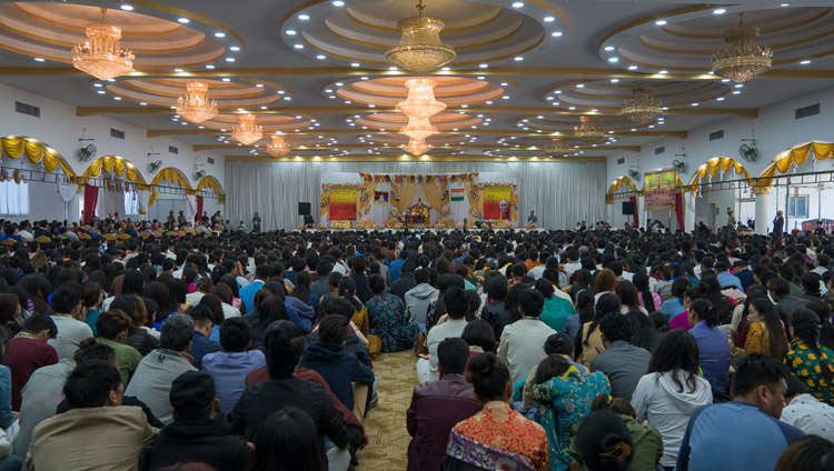 A view of the hall at the King's Court section of the Palace Ground with over 2500 members of the Tibetan and Himalayan communities listening to His Holiness the Dalai Lama in Bengaluru, Karnataka, India on December 25, 2017. Photo by Tenzin Choejor