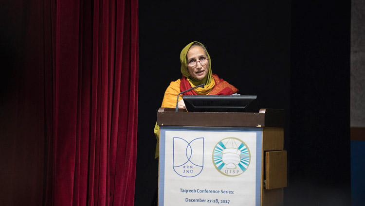 Prof Tahera Qutbuddin, Co-Director of the Qutbi Jubilee Scholarship Program, introducing the inter-religious conference at Jawaharlal Nehru University in New Delhi, India on December 28, 2017. Photo by Tenzin Choejor