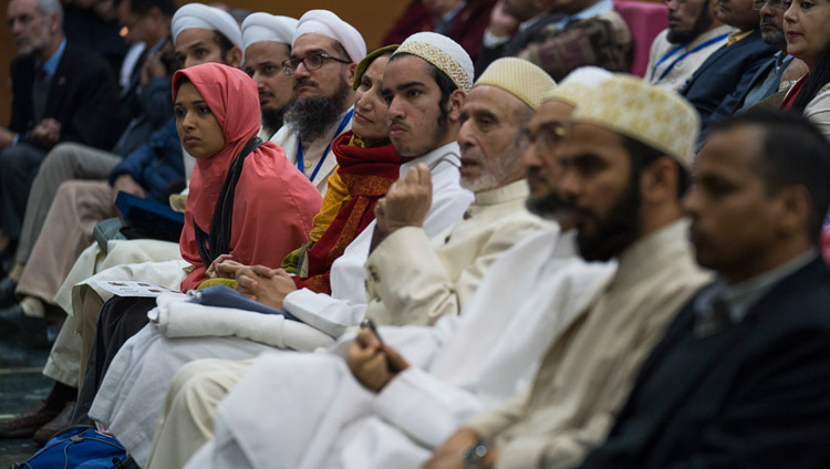 Members of the audience listening to His Holiness the Dalai Lama's address at the inter-religious conference at Jawaharlal Nehru University in New Delhi, India on December 28, 2017. Photo by Tenzin Choejor