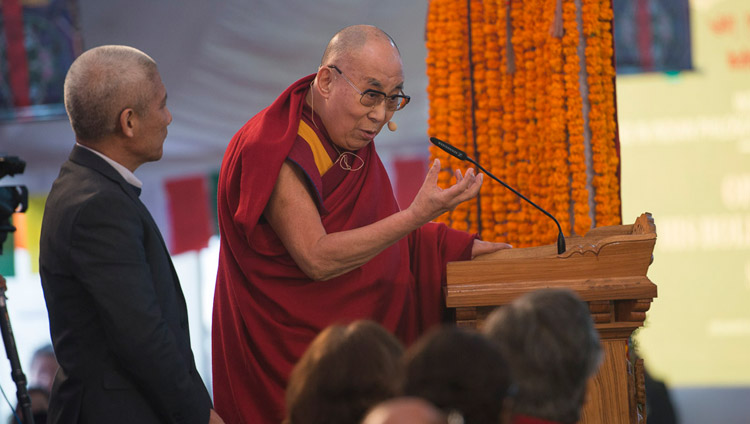 His Holiness the Dalai Lama delivering his opening remarks at the inaugural session of the conference on Mind in Indian Philosophical Schools of Thought and Modern Science at the Central Institute of Higher Tibetan Studies in Sarnath, Varanasi, India on December 30, 2017. Photo by Lobsang Tsering