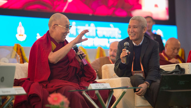 His Holiness the Dalai lama commenting on the presentation at the conference on Mind in Indian Philosophical Schools of Thought and Modern Science at the Central Institute of Higher Tibetan Studies in Sarnath, Varanasi, India on December 30, 2017. Photo by Lobsang Tsering