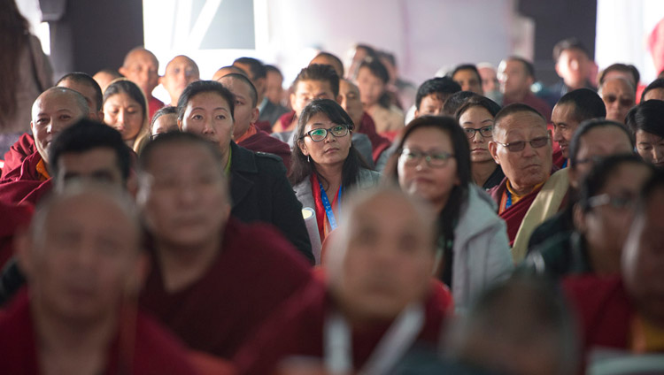 Members of the audience listening to His Holiness the Dalai Lama's comments on the second day of the conference on Mind in Indian Philosophical Schools of Thought and Modern Science at the Central Institute of Higher Tibetan Studies in Sarnath, Varanasi, India on December 31, 2017. Photo by Lobsang Tsering