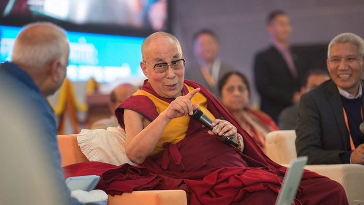 His Holiness the Dalai Lama commenting on the presentations delivered on the second day of the conference on Mind in Indian Philosophical Schools of Thought and Modern Science at the Central Institute of Higher Tibetan Studies in Sarnath, Varanasi, India on December 31, 2017. Photo by Lobsang Tsering