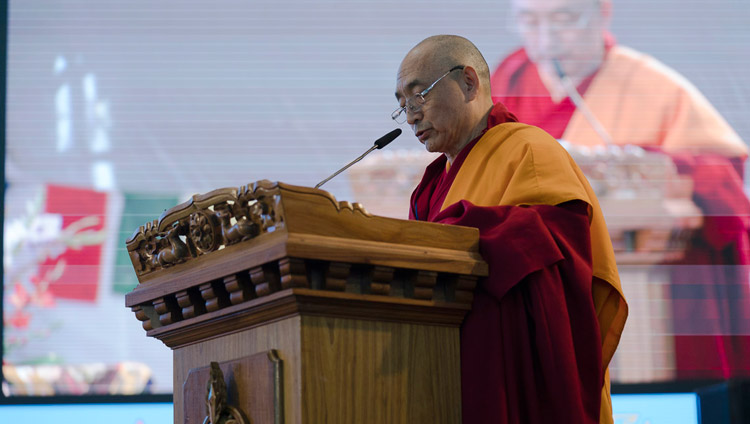 Vice-Chancellor Geshe Ngawang Samten delivering his welcome address at the Central Institute of Higher Tibetan Studies' Golden Jubilee celebration in Sarnath, Varanasi, India on January 1, 2018. Photo by Tenzin Phuntsok