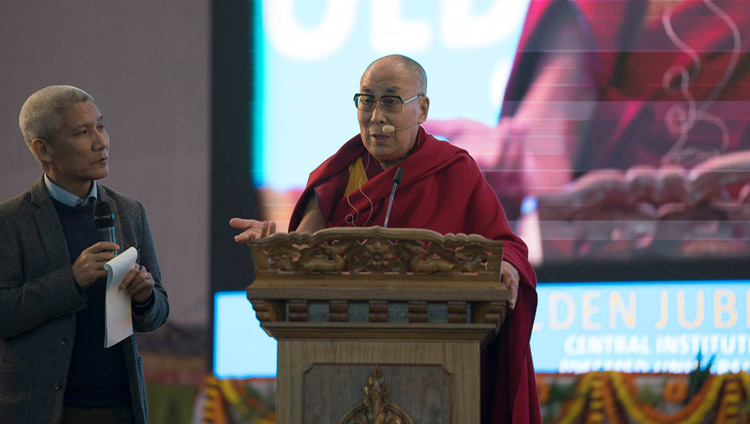 His Holiness the Dalai Lama addressing the audience during the Central Institute of Higher Tibetan Studies' Golden Jubilee celebration in Sarnath, Varanasi, India on January 1, 2018. Photo by Tenzin Phuntsok