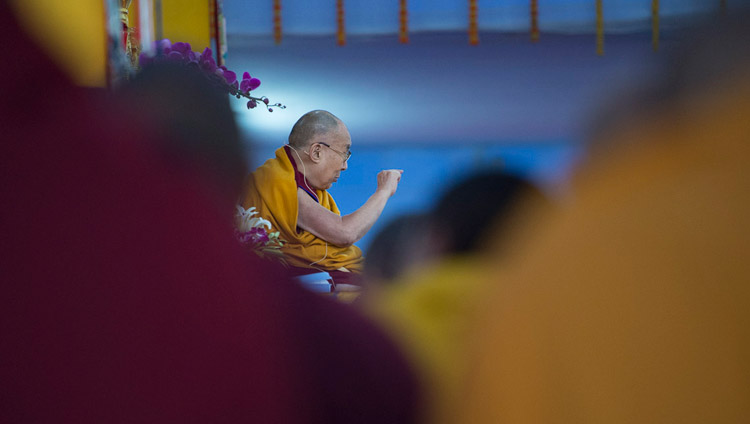 His Holiness the Dalai Lama speaking on the first day of his teachings at the Kalachakra Maidan in Bodhgaya, Bihar, India on January 5, 2018. Photo by Lobsang Tsering