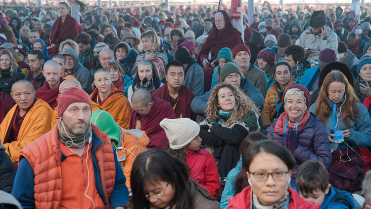 Foreigners from different countries gathered to listen to His Holiness the Dalai Lama's teachings at the Kalachakra Maidan in Bodhgaya, Bihar, India on January 5, 2018. Photo by Lobsang Tsering