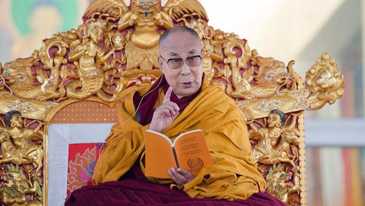 His Holiness the Dalai Lama explaining the text on the first day of his teachings at the Kalachakra Maidan in Bodhgaya, Bihar, India on January 5, 2018. Photo by Lobsang Tsering