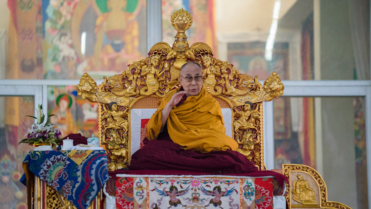 His Holiness the Dalai Lama speaking on the second day of teachings at the Kalachakra Maidan in Bodhgaya, Bihar, India on January 6, 2018. Photo by Lobsang Tsering