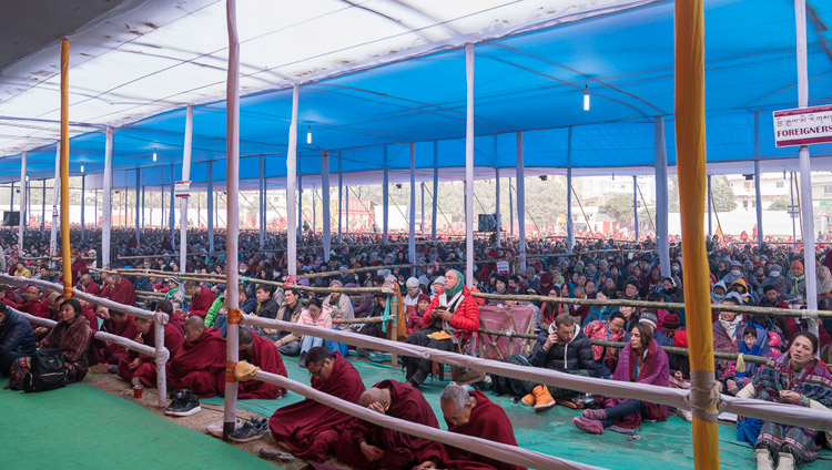 Some of the more than 50,000 people, including foreigners from 69 countries, attending His Holiness the Dalai Lama's teachings at the Kalachakra Maidan in Bodhgaya, Bihar, India on January 6, 2018. Photo by Lobsang Tsering