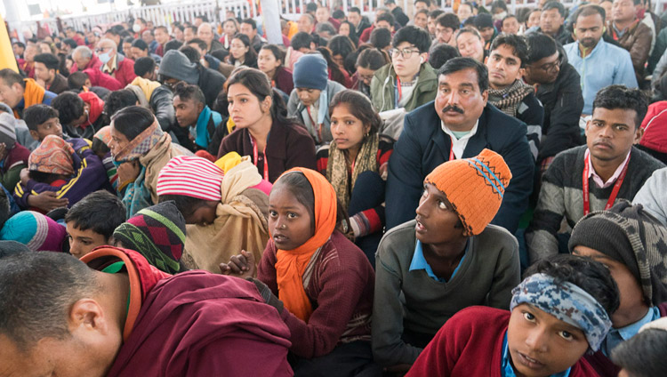 Members of the audience listening to His Holiness the Dalai Lama on the third day of teachings in Bodhgaya, Bihar, India on January 7, 2018. Photo by Lobsang Tsering