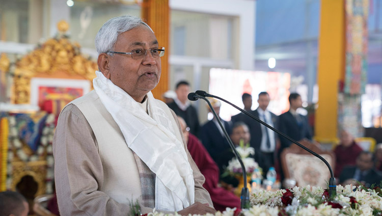 "Bihar Chief Minister Nitish Kumar speaking at the release ceremony for ""Science and Philosophy in the Indian Buddhist Classics, Vol. 1: The Physical World"" in Bodhgaya, Bihar, India on January 7, 2018. Photo by Lobsang Tsering"
